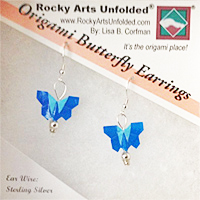 Dainty Blue Origami Butterfly Earrings